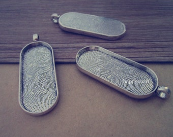 5pcs 18mm x45mm Antique silver Oval Pendant Base tray