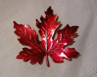Canadian Red Maple Leaf Pin.Hand Painted