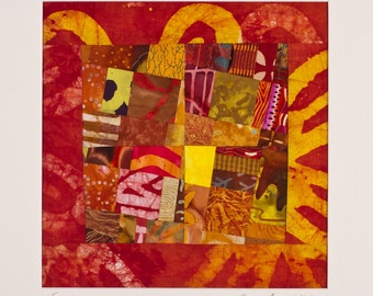 EXODUS: A Fine Art Quilt Collage Signed by The Artist, Matted for Framing/FREE SHIPPING