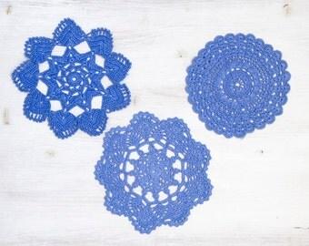 3 Lavender Crochet Doilies hand dyed vintage Doilies