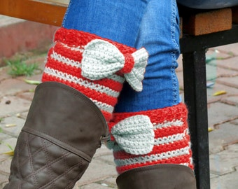 Short Knit Boot Cuffs with bow vanilla red. Short Leg Warmers. Crochet Boot Cuffs. Bow boot cuffs. Bow Accessory