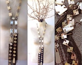 Art deco antique MOP flapper necklace massive long assemblage huge tassels