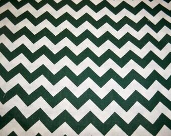 Full Yard - Hunter Green Chevron Fabric By The Yard - One Yard Cut Hunter Green Dark Green 1/2 Inch Chevron Half Inch Chevron Cotton Fabric