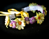 Purple and Yellow Flower crown Headband