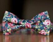 Vintage Teal skinny tie and bow tie