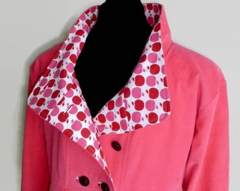 Custom Design Pink Corduroy Swing Coat with Apple Print Lining