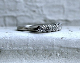 Vintage Platinum Diamond Wedding Band - 0.35ct.