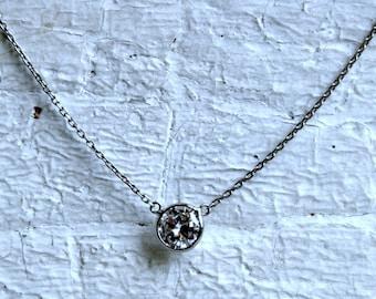 RESERVED - Vintage Platinum Diamond Solitaire Pendant - 0.65ct.