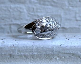 Vintage 14K White Gold Diamond Engagement Ring -1.01ct.