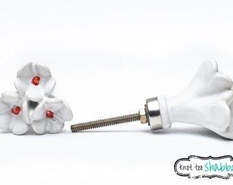 Amaryllis Ceramic Flower Knob