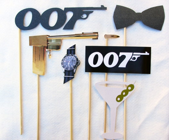 James Bond Photo Booth Prop Collection. Set of 8. Photo Props for parties and weddings. Theme.