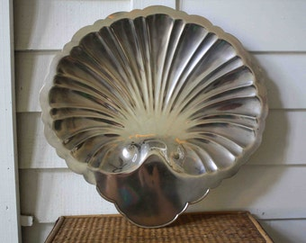 Large silve-plated footed tray, Rogers, shell-shaped
