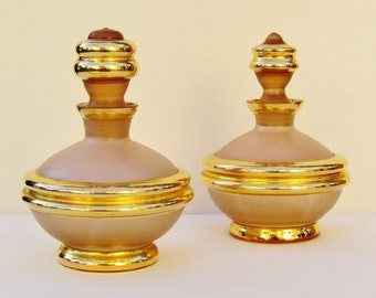 Pair of 1950's Czech cologne bottles,  rose frosted glass cologne bottles imported by Irice, bath oil bottles
