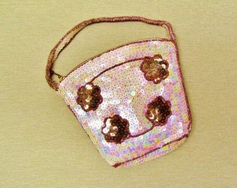 1930's evening bag, dance purse with iridescent sequins made in Belgium