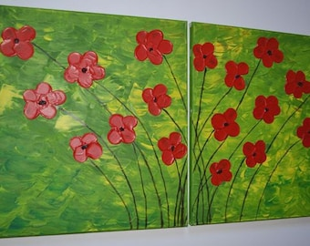 "Original Abstract Painting Acrylic Painting Modern art  -Red Flowers - Handmade by Carola , 2 piece 16""x16""FREE SHIPPING"