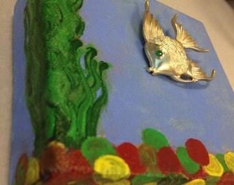 Small Canvas Art - Fish Brooch - For Fish lovers - Unique Brooch Art - Vintage brooch