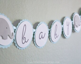 Baby Boy Light Blue, White, Grey Elephant Paper Banner Bunting Garland- Boy Baby Shower, Announcement Party Decorations, Nursery Bedroom