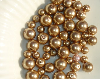 Beige Glass Pearl Beads - Jewelry Making Supply - 24 pcs