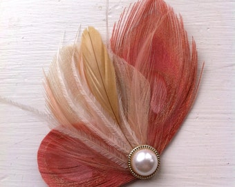 CALLY in Coral, Ivory, Beige, and Peach Peacock Feather Hair Clip, Feather Fascinator