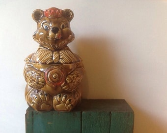BEAR cookie jar 1960 Japan kitschy kitchen decor Creepy Gift ODDITY Creepy Bear Unique Gift
