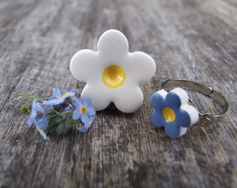 Forget-me-not Ring ceramic flower blue, white yellow, silver plated adjustable