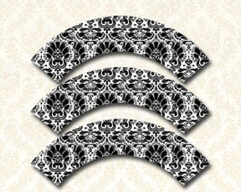 Damask Cupcake Wrappers Printable, DIY Cupcake Wrap, Damask Wedding Cupcake Wrapper, Black Damask Adult Party Cupcake Holder Decorations