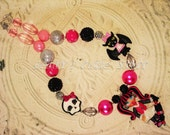 Draculaura inspired from Monster high theme Custom Chunky Bead Necklace