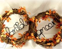 Fall Wedding Vine Chair Backs, Bride & Groom