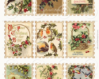 Printable Vintage Christmas Stamps Collage Sheet Tags 2 as a JPG file to download instantly by Jodie Lee