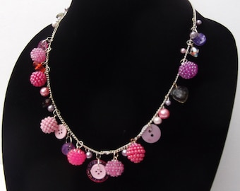 sweetheart retro junk drawer chunky necklace candy color lavender pink kitschy cute vintage inspired retro jewelry ooak glass plastic charm