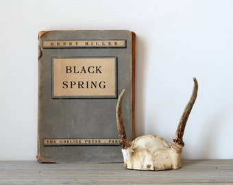 Henry Miller Black Spring vintage book / collectible / The Obelisk Press Paris 1938 / banned books / sepia patina / stone gray / literature