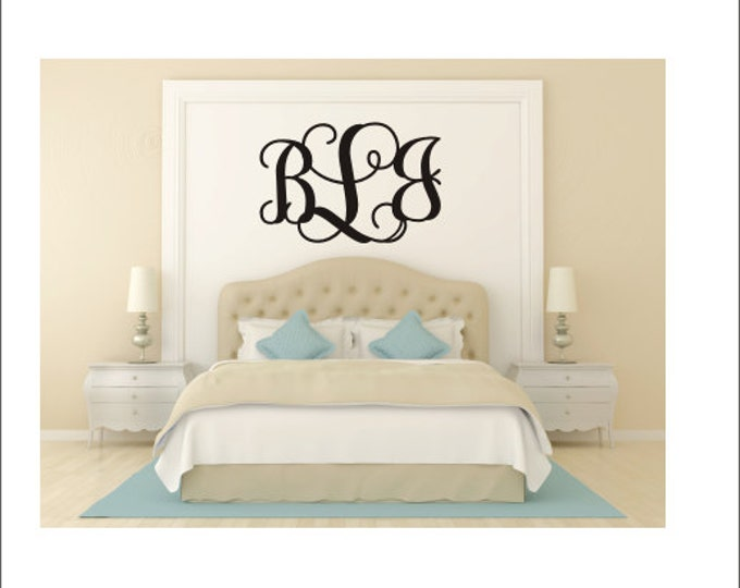 Monogram Wall Decal Vine Monogram Decal Preppy Decal Southern Decal Nursery Decal Bedroom Decal Vinyl Wall Decal Wall Monogram Housewares