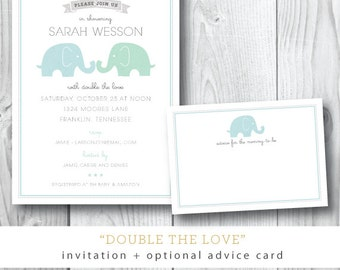 Double the Love Elephant Printed Invitations | Baby Shower Invitation | Printed or Printable by Darby Cards