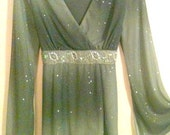 Vintage Olive Mint Green Boho Stevie Nicks Glitter Beaded Shirt by Dress Barn
