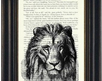 Narnia Book Page Print Recycled Book Page Book Lovers Gift Upcycled Book Page Wall Art Narnia Lion Print