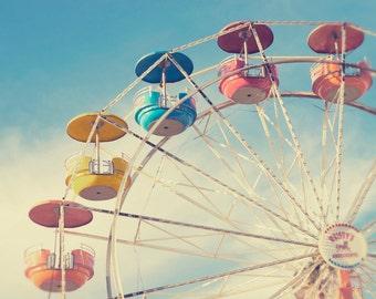 Fine Art Photography -  Carnival Photography retro vintage nursery decor photo prints ferris wheel ride blue sky print
