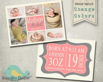 Baby Girl Announcement PHOTOSHOP TEMPLATE - Baby Girl 002