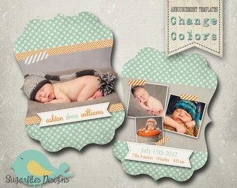 Baby Announcement PHOTOSHOP TEMPLATE - Luxe Baby Boy Freckles