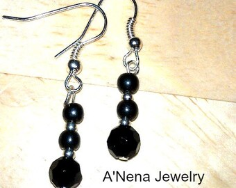 """Azabache, Hematite  and Silver Plated  """"Shine""""  Earrings For Women"""