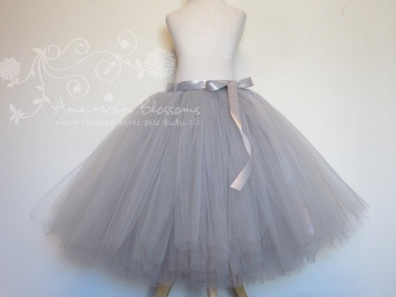 Gray bridesmaid gray tulle skirt tea length by for How to make a long tulle skirt for wedding dress
