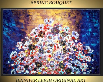 Original Large Abstract Painting Modern Contemporary Canvas Art Gold Purple White SPRING BOUQUET 36x24 Palette Knife Texture Oil J.LEIGH