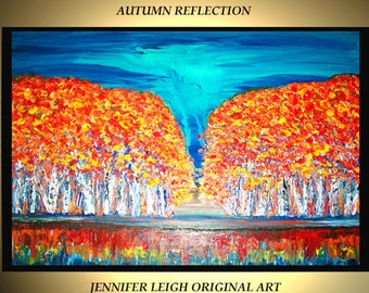 "Original Large Abstract Painting Modern Contemporary Canvas Art Blue Orange AUTUMN  Birch Trees  36""x24"" Palette Knife Texture Oil J.LEIGH"
