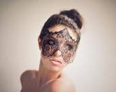 Lace Mask - Black Masquerade Mask - Mardi Gras Mask - Womens Eye Veil Costume - Strapless Face Lace Masks - Prom- Party - Theater - Ball