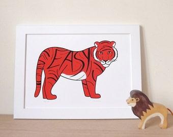 Tiger screenprint, Animal poster, Wall Art, Typography Poster, Type Print, Orange Print, Cat Poster, Animal Art, Zoo Print, tiger wall art