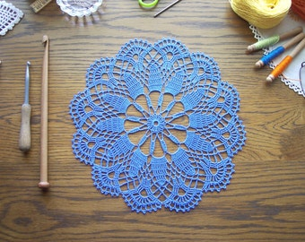 Blue Doily in Bamboo / Placemat / Home Decoration / Wedding Centerpiece / Blue Crochet lace / tabletop decor /Round pillow
