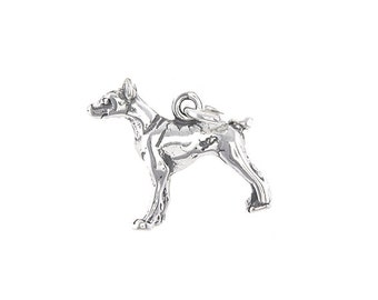 Sterling Silver Doberman Dog Charm (3d Charm)