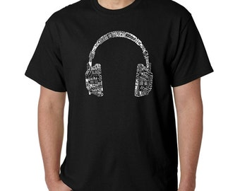 Men's T-shirt -  Created using the word Music in different  Headphones - Languages
