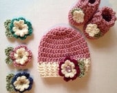 Baby hat and booties flower hat and socks interchangeable flowers