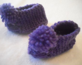 Knitted Purple Baby Booties