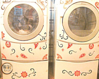 Washer and Dryer Decals-Fresh Paisley, Appliance Vinyl